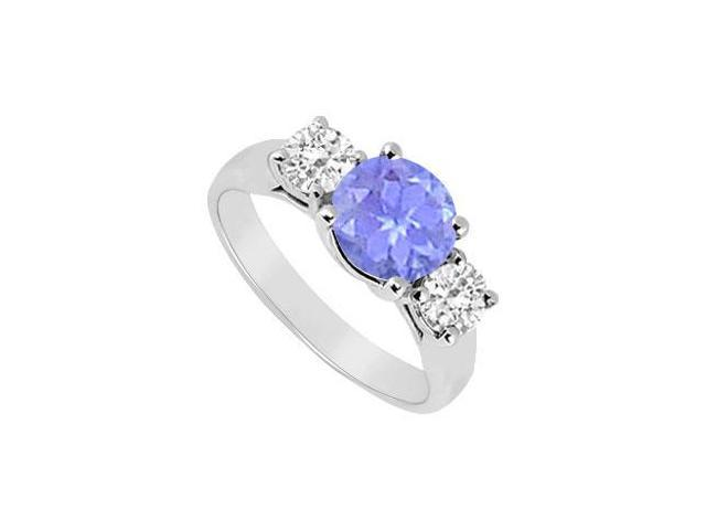 10K White Gold Created Tanzanite and Cubic Zirconia Three Stone Ring 1.25 CT TGW