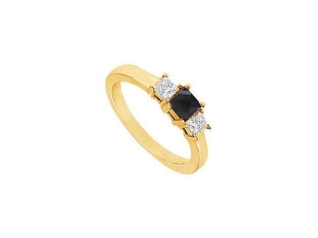 14K Yellow Gold  Princess Prong Set Black and White Diamond Three Stone Ring  1.00 CT TDW