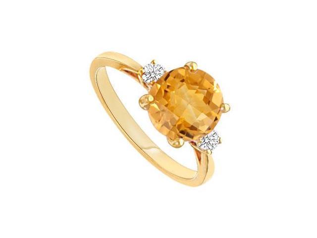Citrine and Diamond Ring  14K Yellow Gold - 0.75 CT TGW
