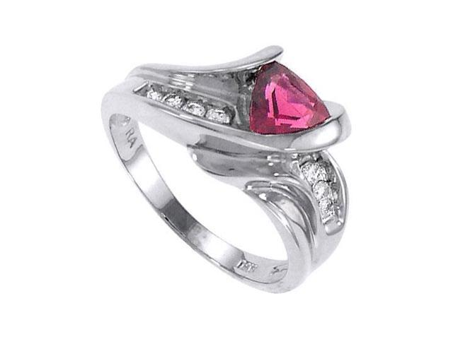 Pink Tourmaline and Diamond Ring  14K White Gold - 1.00 CT TGW