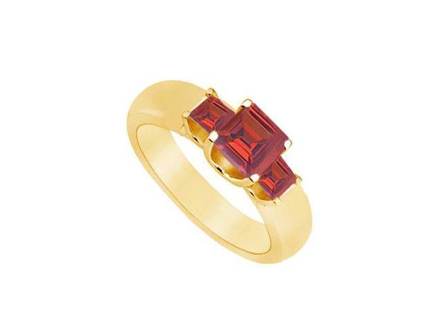 Three Stone Ruby Ring  14K Yellow Gold - 0.75 CT TGW