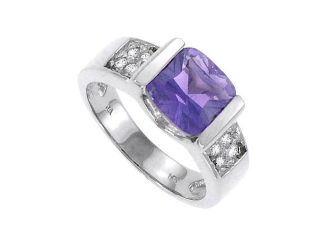 Amethyst and Diamond Ring  14K White Gold - 1.00 CT TGW
