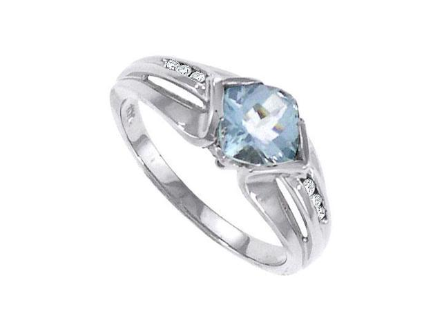 Aquamarine and Diamond Ring  14K White Gold - 1.00 CT TGW