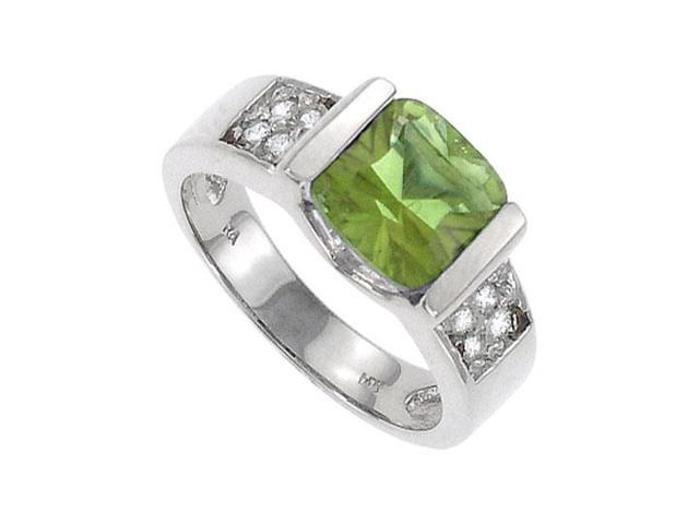 Peridot and Diamond Ring  14K White Gold - 3.00 CT TGW