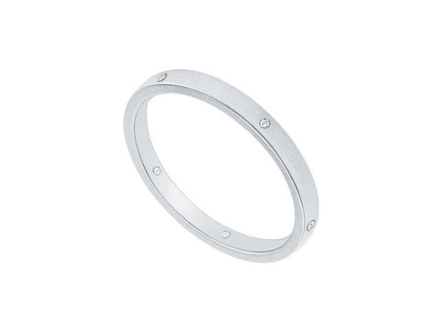 2MM Comfort Fit Flat Wedding Band with Diamonds  Platinum - 0.05 CT TDW