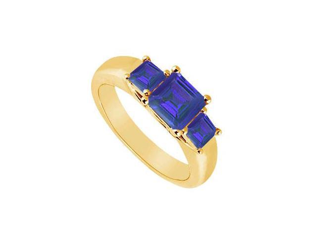 Three Stone Sapphire Ring  14K Yellow Gold - 0.50 CT TGW
