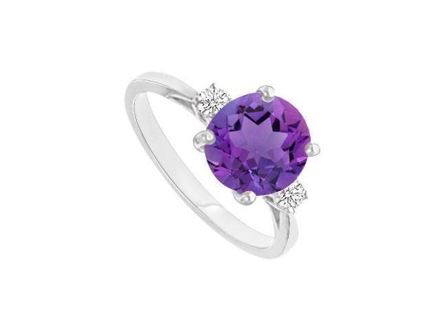 Amethyst and Diamond Ring  14K White Gold - 0.75 CT TGW