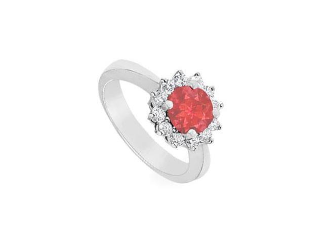 Ruby and Diamond Ring  14K White Gold - 1.50 CT TGW