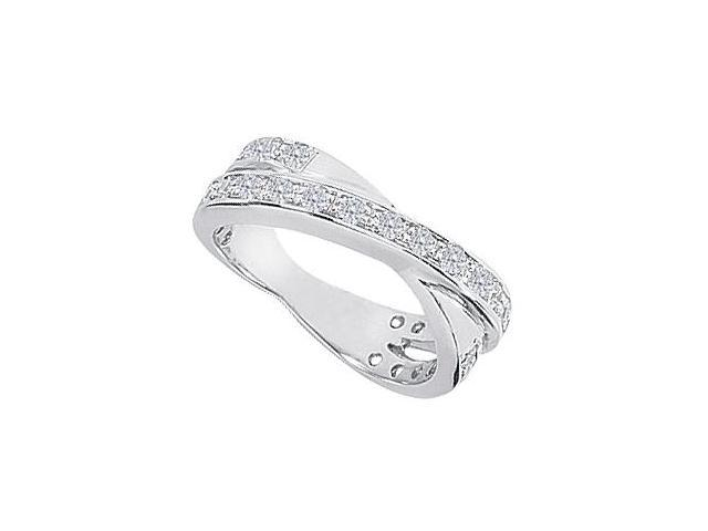 1 Carat Diamond Wedding Bands in White Gold 14K Crossover Design Ring