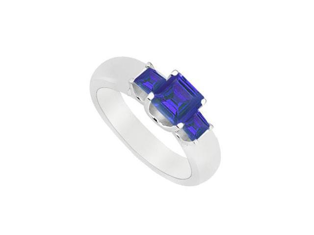 Three Stone Sapphire Ring  14K White Gold - 0.75 CT TGW