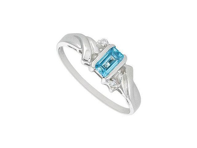 Blue Topaz and Diamond Ring  14K White Gold - 1.00 CT TGW
