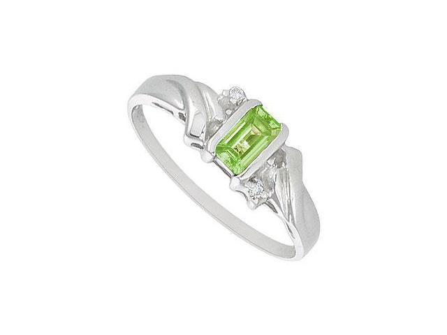 Peridot and Diamond Ring  14K White Gold - 1.00 CT TGW
