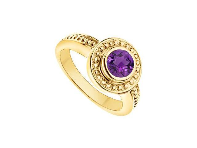 Amethyst with Bead Trimmed Solitaire Ring  14K Yellow Gold - 1.00 CT TGW