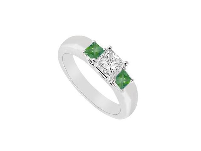 Three Stone Diamond and Emerald Ring  14K White Gold - 0.25 CT TGW