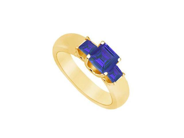 Three Stone Sapphire Ring  14K Yellow Gold - 0.75 CT TGW
