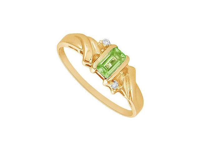 Peridot and Diamond Ring  14K Yellow Gold - 1.00 CT TGW