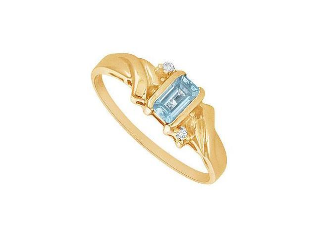 Aquamarine and Diamond Ring  14K Yellow Gold - 1.00 CT TGW