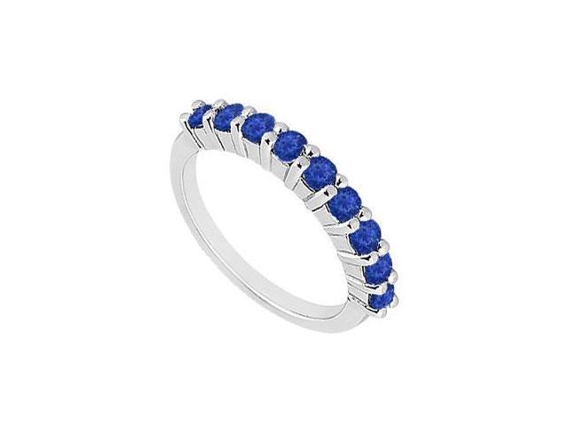 Sapphire Wedding Band  14K White Gold - 1.00 CT TGW