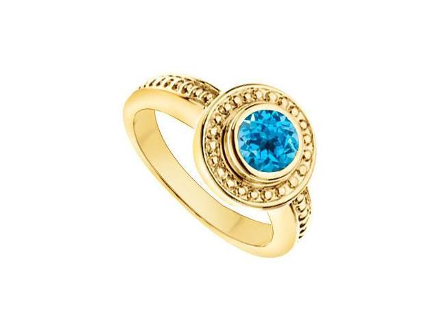 Blue Topaz with Bead Trimmed Solitaire Ring  14K Yellow Gold - 1.00 CT TGW