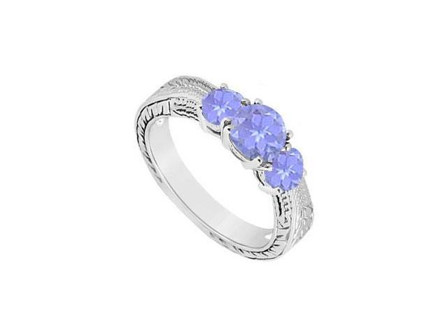 Created Tanzanite Three Stone Ring 10K White Gold 0.50 CT TGW
