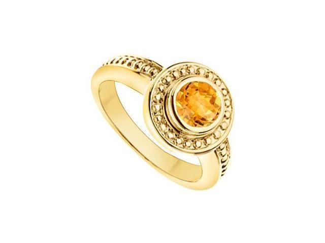 Citrine with Bead Trimmed Solitaire Ring  14K Yellow Gold - 1.00 CT TGW