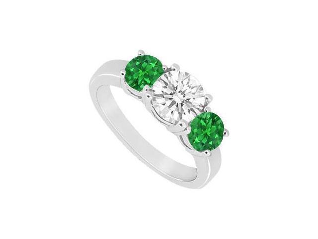 Three Stone Emerald and Diamond Ring  14K White Gold - 1.50 CT TGW
