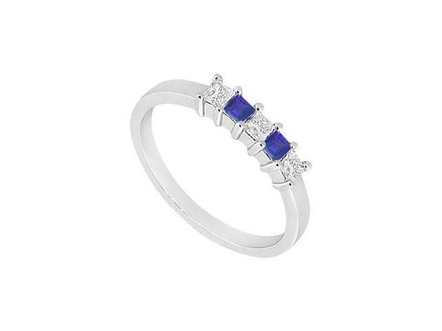 Sapphire and Diamond Wedding Band  14K White Gold - 1.00 CT TGW