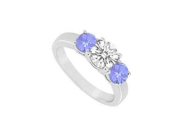10K White Gold Created Tanzanite and Cubic Zirconia Three Stone Ring 1.00 CT TGW