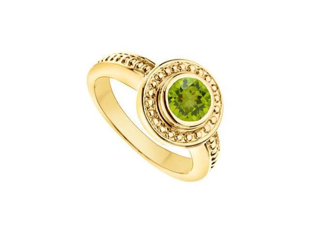Peridot with Bead Trimmed Solitaire Ring  14K Yellow Gold - 1.00 CT TGW