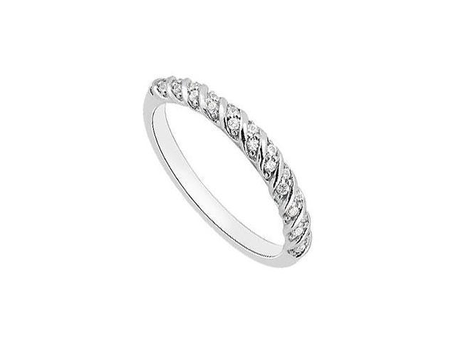 Spiral Design Wedding Ring in 14K White Gold 0.15 Carat Diamonds