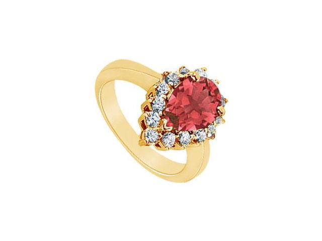 Ruby and Diamond Ring  14K Yellow Gold - 1.50 CT TGW