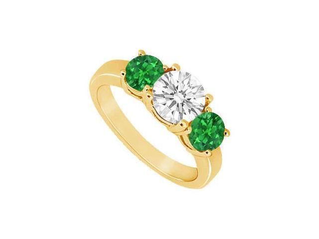 Three Stone Emerald and Diamond Ring  14K Yellow Gold - 1.50 CT TGW