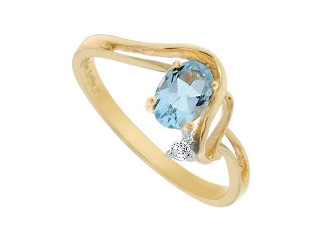 Aquamarine and Diamond Ring  14K Yellow Gold - 0.50 CT TGW