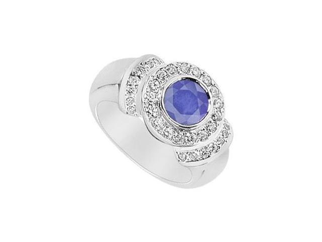 Sapphire and Diamond Ring  14K White Gold - 1.50 CT TGW