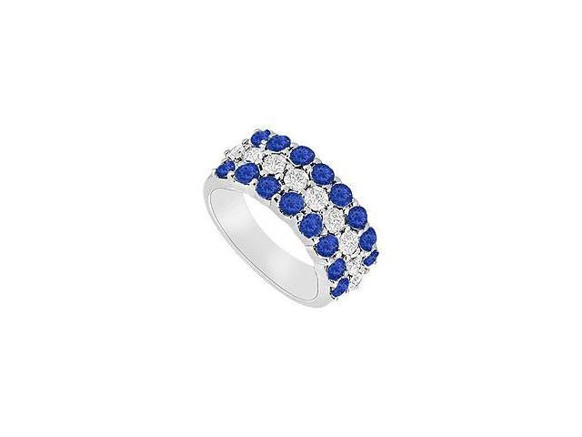 Sapphire and Diamond Wedding Band  14K White Gold - 1.25 CT TGW