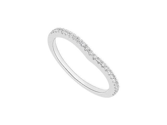 Half Circle Diamond Wedding Bands of 0.20 Carat Diamonds in 14K White Gold