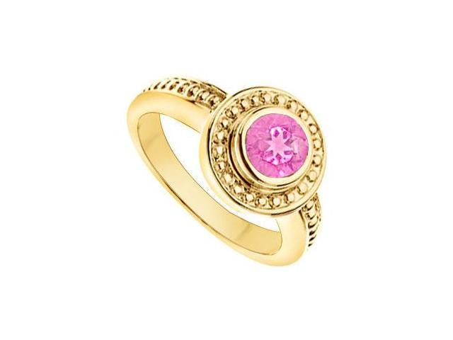 Pink Topaz with Bead Trimmed Solitaire Ring  14K Yellow Gold - 1.00 CT TGW