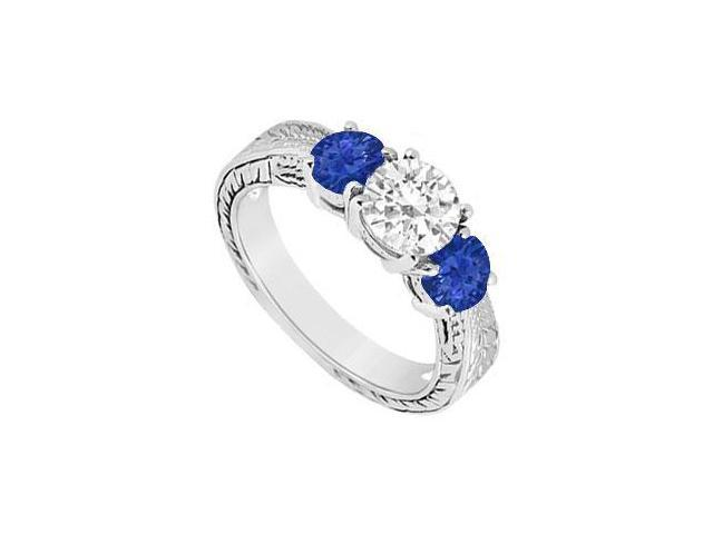 Three Stone Sapphire and Diamond Ring  14K White Gold - 1.00 CT TGW