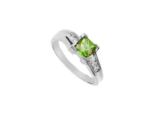 Peridot and Diamond Ring  14K White Gold - 1.00 CT TGW