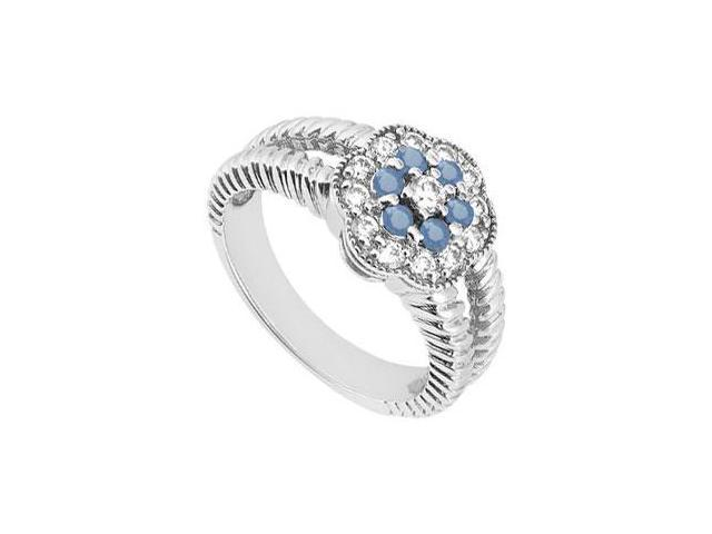 Sapphire and Diamond Floral Ring  14K White Gold - 0.50 CT TGW