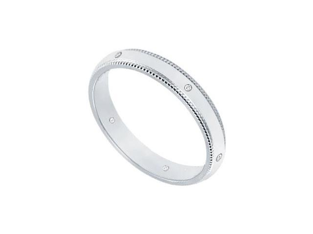 2.5MM Comfort Fit Milgrain Wedding Band with Diamonds  Platinum - 0.05 CT TDW