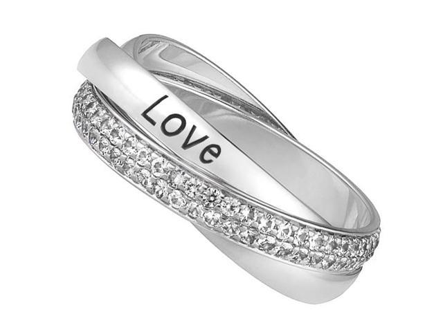 Three Intertwined Bands High Polished 14K White Gold LOVE Diamond Ring of 2 Carat Diamonds