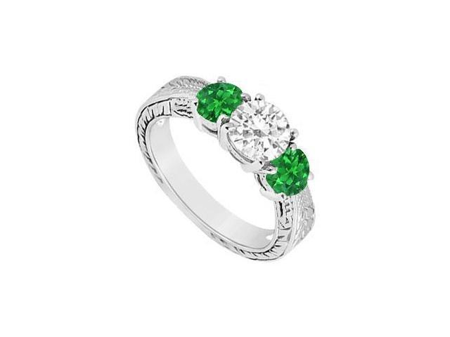 Three Stone Emerald and Diamond Ring  14K White Gold - 1.00 CT TGW