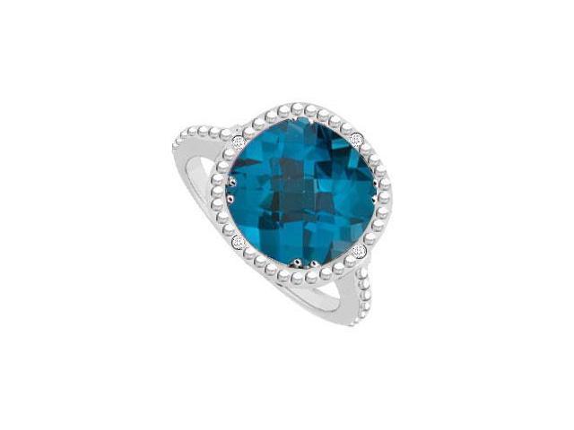 Blue Topaz and Diamond Ring 10K White Gold 3.05 CT TGW