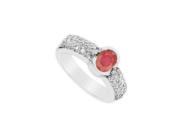 Ruby and Diamond Ring  14K White Gold - 1.75 CT TGW