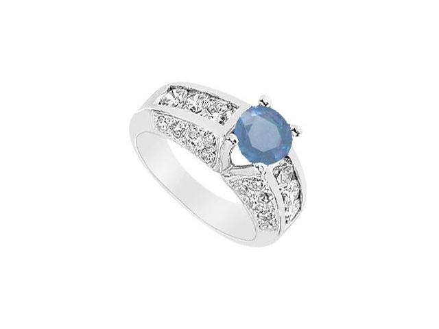 Sapphire and Diamond Ring  14K White Gold - 2.75 CT TGW