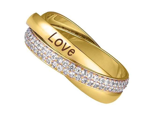 High Polished 14K Yellow Gold Three Bands Intertwined LOVE Diamond Ring of 2 Carat Diamonds