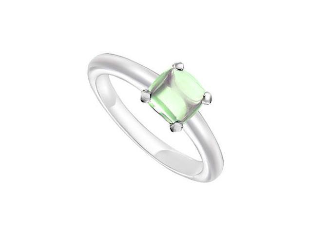 Green Chalcedony Ring  14K White Gold - 5.00 CT TGW