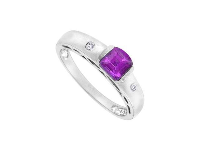 Amethyst and Diamond Ring  14K White Gold - 0.66 CT TGW