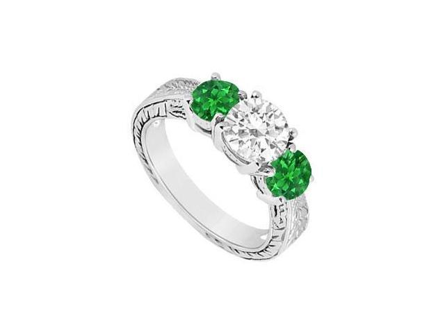 Three Stone Emerald and Diamond Ring  14K White Gold - 1.25 CT TGW